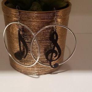 Handcrafted Musical Note Hoop Earrings